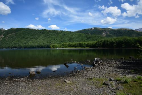 Lake, blue sky reflection